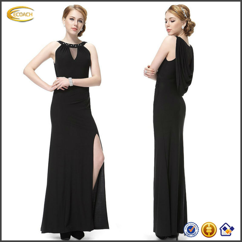 OEM 2015 Unique Rhinestones thigh high Slitted Women Long Party Dress plus size sexy pron dress