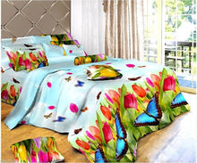 Light Color Butterfly 3D Print Double Bed Sheet with two pillow cover set