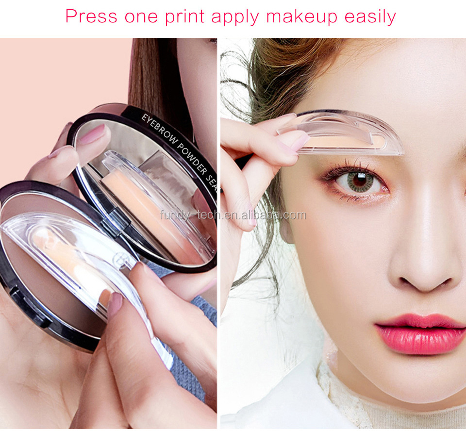 3 colors waterproof eyebrow powder with eyebrow stamp for private label