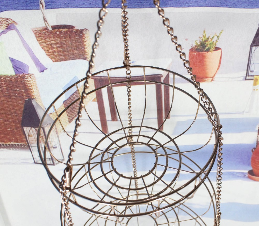 549-60 3-tier Metal Hanging Fruit Basket storage basket with gold-plated