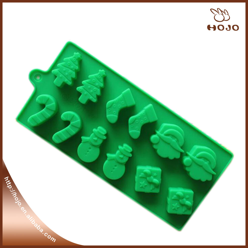 Wholesales Chrismas 12-cavity Cake Mold Soap Silicone Mold Flexible chocolate Mold