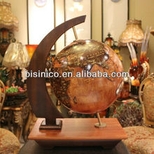 Luxury Wooden Globe Table Stand Embossed Style
