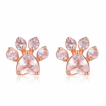 Trendy Cute Cat Dog Paw Stud Earrings 18K Rose Gold Plated Earrings
