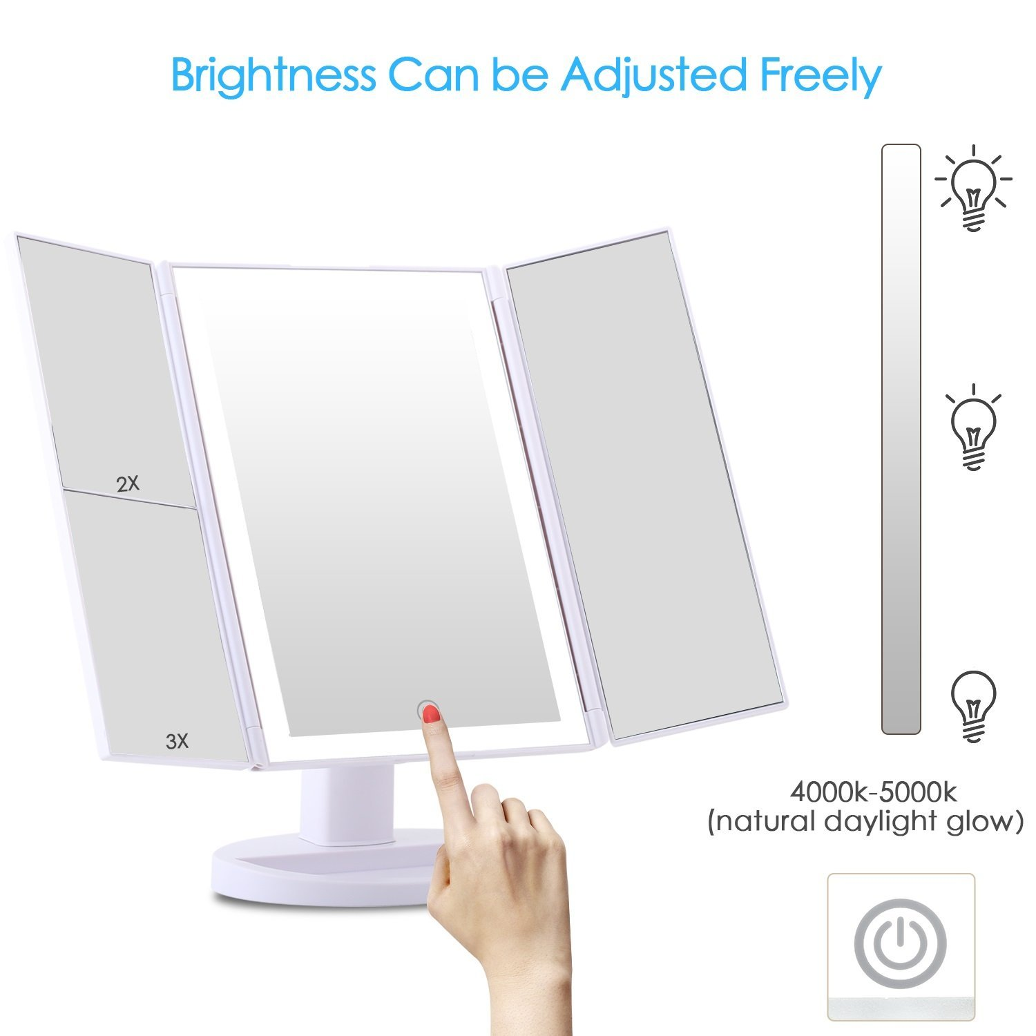 Royressan LED Touch Screen Makeup Mirror Beauty Tool 3 Folding Adjustable Cosmetic Mirror with 36 led lights