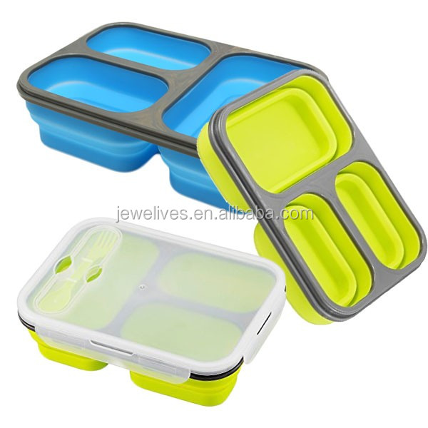 microwave silicone collapsible 3 compartment lunch box