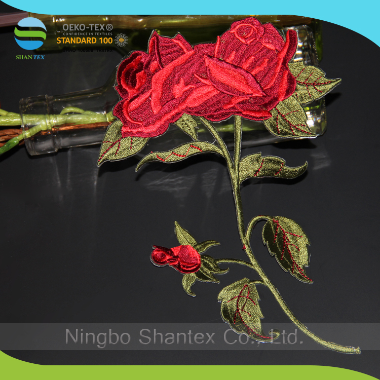 Wholesale Factory Price Embroidery Rose Patches With Green Leaf Designs