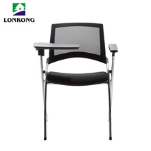 Conference Room Writing Pad Black Mesh Training Chair