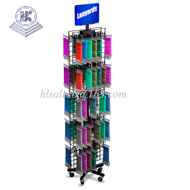 double sides rotating hanging mobile phone accessories display rack