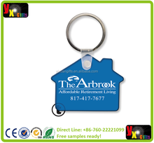 Custom Printed Soft Touch Key Ring - House Shape