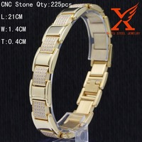 2016 wholesale Stainless Steel CNC CZ Stone Mens Watch Strap Bracelet 14K Yellow Gold Finish Modern Fashion