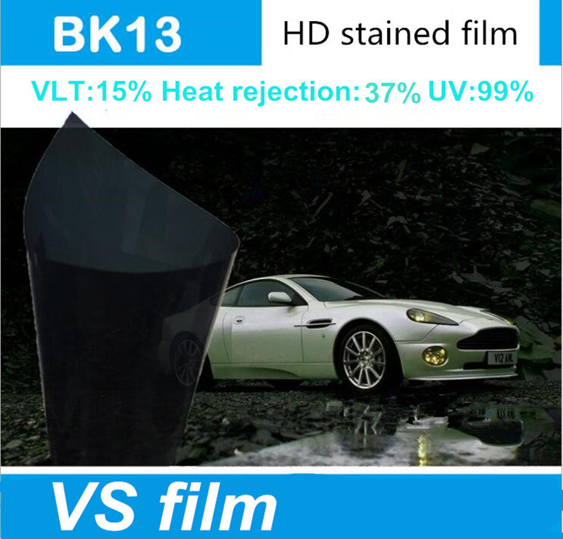 15% visible light car wrap window film,99% UV rejection black glue tint for car window