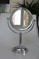 chrome plating round shape makeup mirror with led light desk mirror stand 7X Magnifying