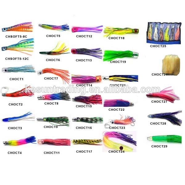 "big game fishing lure 9inch 11"" acrylic head octopus trolling lure saltwater fishing tackle tuna marlin lure"