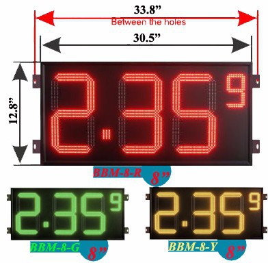 6 inch gas station digital price display