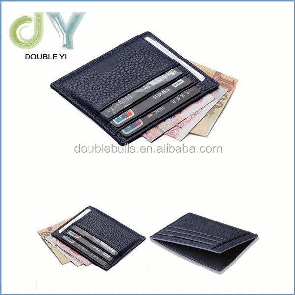 Genuine Leather Unisex Slim Card Case Super Thin Fashion Card Holder Compact Wallet With ID Card Window