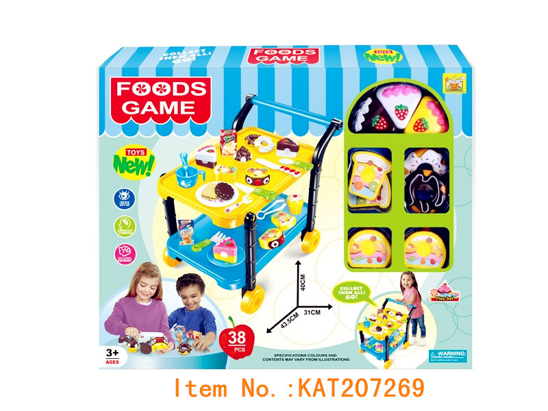 Pretend Play Preschool Kitchen Toys Cutting Fruit Birthday Cake With Push Carts