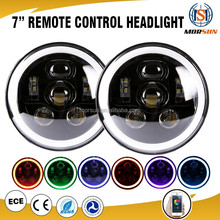 "Top quality 7"" RGB led headlight for jeep wrangler jk H4 rgb halo ring headlight Round 7 Inch Rgb 4X4 Jeep Led Headlight"