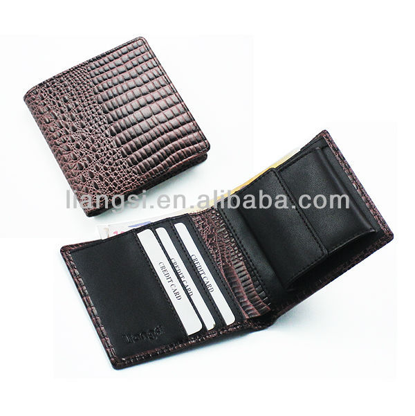 Latest fashion waterproof genuine leather crocodile wallet for man