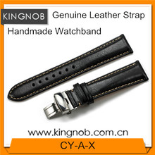 Black Genuine Leather Watch Band With Deployment Buckle Clasp