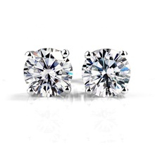 18K white gold 2CT moissanite diamond stud <strong>earrings</strong>