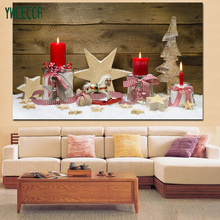 Christmas Craft Design LED Light Canvas Painting Red Candle Gift Lighted LED Fabfic Picture