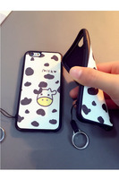 NEW Paint Cartoon Cow Milk Soft Silicone TPU Case Cell Phone Cover For iPhone 5 6 6S 6plus with Lanard Rope Drop proof