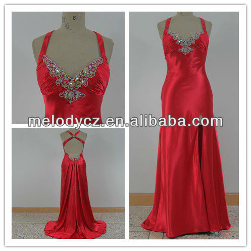 Red color satin side slit real picture formal party sexy ladies one piece dress