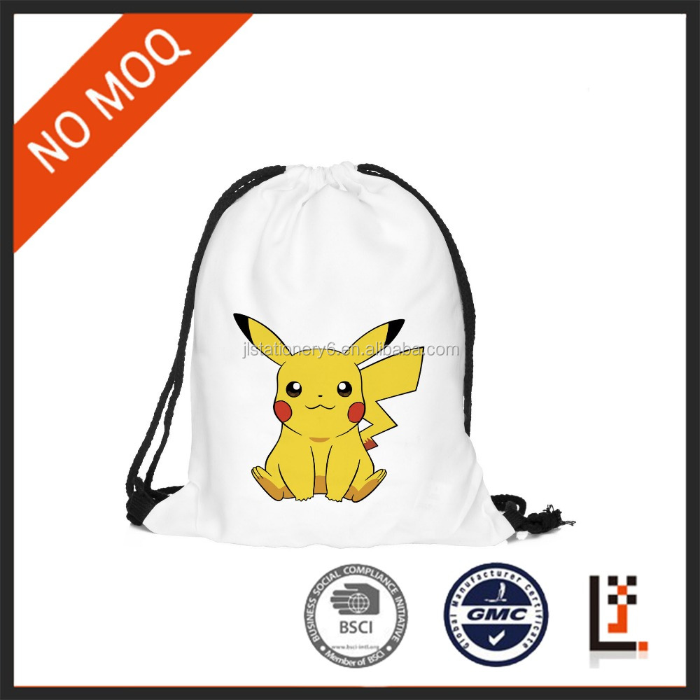 40x30cm 420D digital printing pockmon Pikachu white drawstring backpack for <strong>Promotion</strong>