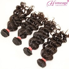 Homeage 6A hair extension human, virgin natural wavy wholesale cheap wet and wavy human hair