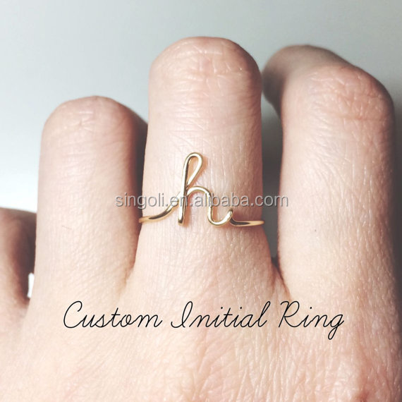 Custom Initial ring sterling silver letter ring personalized bridesmaid giftwedding jewelry