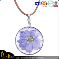 Fashion New Design Real Dried Purple Flower Crystal Floating Charm Locket Pendant Necklace