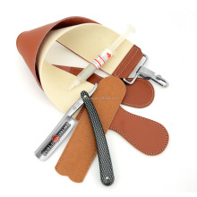 Gold Dollar 208 Folding Knife straight shaving Barber Razor + Real Leather Canvas Strop W/ Paste