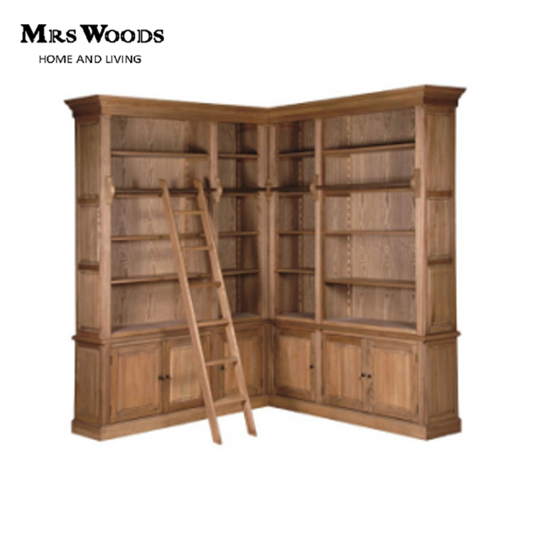 french provincial furniture 6 doors solid oak wood library corner bookcase with ladder