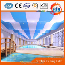 Project fluorescent laser stretch ceiling film with led lighting behind it with 15-year warranty for swimming pools
