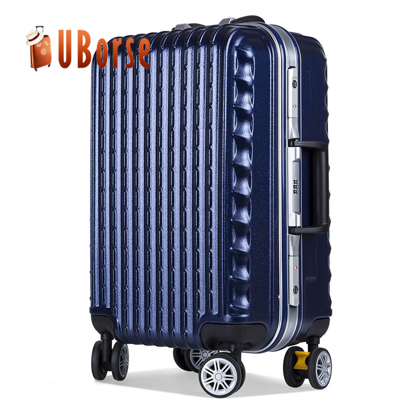 Dark blue 28 inch trolley bags large luggage bag with 4 spinner wheels
