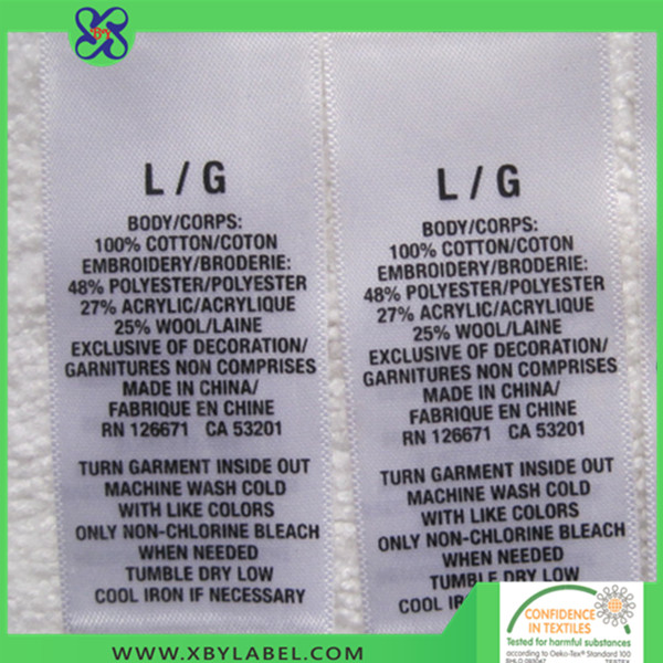 Durable printed wash label for men/women garment