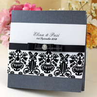 2016 newmengxing Blank flocking wedding invitations, elegant wedding invitation with ribbon and brooch