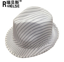 Promotional White Stripe Straw Sun Hat 100% Polyester Mens Fedora Hats Custom