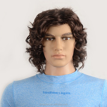 Men's synthetic brown short curly cosplay wig