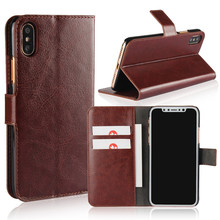 Wholesale Alibaba Luxury Unique Style Mobile Phone Accessories Crazy Horse Leather Case for iPhone X PU Texture Wallet Case