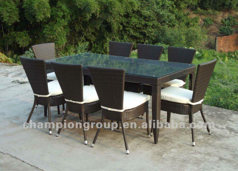 Giardino rattan 8 posti sedie e tavolo da pranzo mobili in rattan sintetico attrezzi da giardino - Sedie da giardino rattan ...