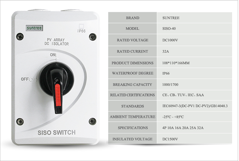 SUNTREE DC 1000V 4P 32A Rotary Solar system isolator switch SISO-40 has got SAA certificate