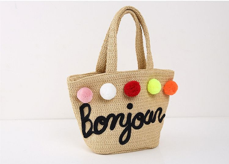 New arrival wholesale summer lady pp beach handbags brand name designer straw bag