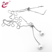 China Factory Wholesale Women Jewelry Silver Chain Crystal Beads Pendant Necklace