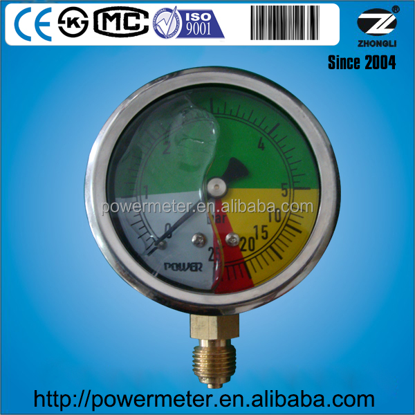 YTN60A bottom glycerin or silicone oil filled 63mm pressure gauge 0-60bar