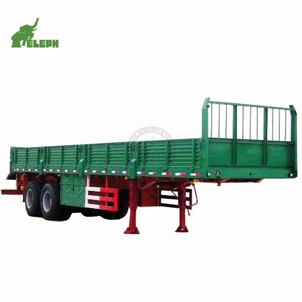 Factory china side wall open semi trailer 2 <strong>axles</strong> 30T 4 <strong>wheel</strong> farm trailer for sale