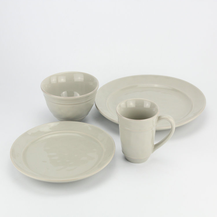 Antique gray japanese style porcelain dinner set for family
