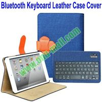 New Arrival Linen Material bluetooth keyboard case for ipad mini 2 Leather Case Cover with Stand
