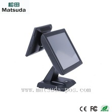 LED 15 inch touch pos machie with 10' customer display