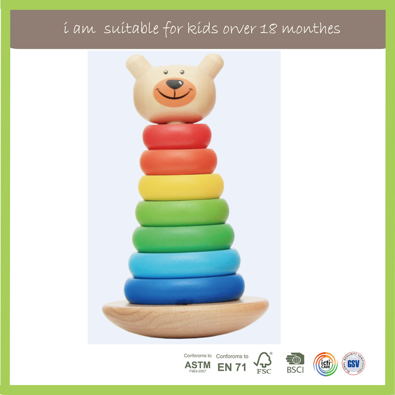 Top Selling Educational Natural Stacking Rings Toy